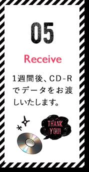 Receive 1週間後、CD-Rでデータをお渡しいたします。